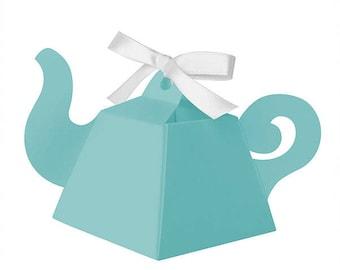 Aqua Teapot Favor Boxes - 25 Count