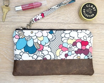 Pink and blue floral wristlet - Faux leather wristlet - floral wristlet -fall purse -small purse - gift for her - summer clutch - bridesmaid