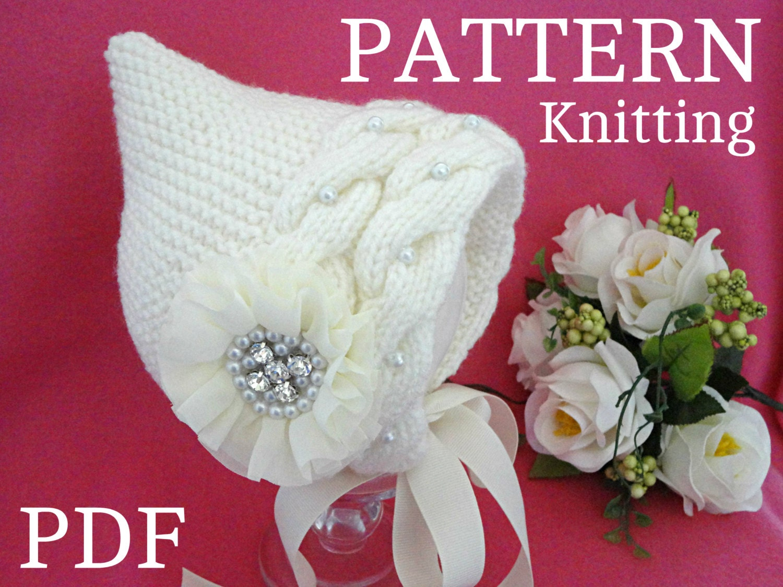 Knitting Pattern Baby Bonnet Knit Baby Hat Newborn Baby Girl