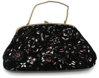 1950's Floral Painted Black Velvet Evening Bag