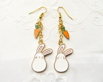 Bunny Earrings / Rabbit Earrings / Kawaii Earrings / Cute Earrings / Easter / Carrot / Charm Earrings