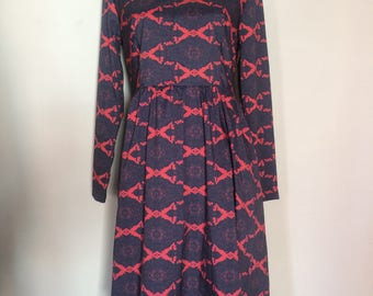 90s Vintage Fit and Flare Navy and Coral Midi-Dress