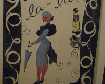 Pair of Sally Darley Giclees Eiffel Tower and Ooh La-la; Sally Darley, art giclee, art prints, vintage art giclees, vintage art prints
