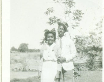 1940s Young Love African American Black Couple Husband Wife 40s Vintage Photograph Black White Photo