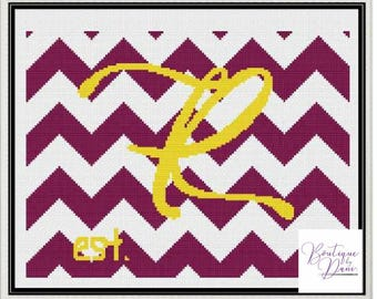Monogram Chevron R Cross Stitch Pattern Personalized