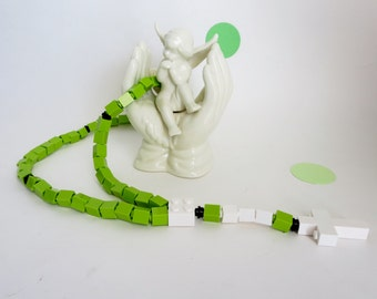 Rosary Made With Lego Bricks - Lime Green and White Kids Rosary - Easter First Communion Gift