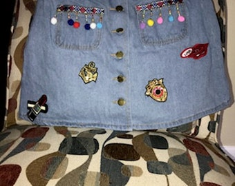skirt, sequin, patches,