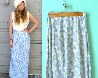 90's Flowy Ankle Length Daisy Skirt in Small . Farmer's Market Floral Skirt . Summer Lightweight Breezy . 1990s Aunt Becky