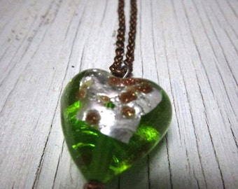 Green Heart Necklace Murano Glass