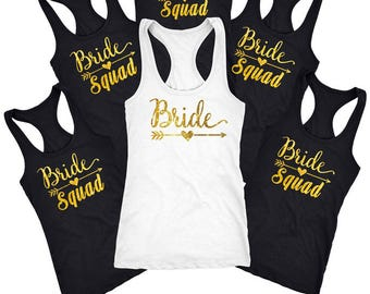 Bachelorette party shirts, Bride Squad Shirt, Bridal party shirts, wedding shirt, Bridesmaid gift, Bridesmaid Tank top and shirt  D110