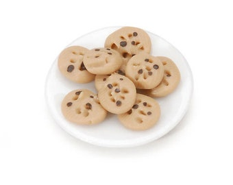 Miniature Chocolate Chip Cookies Plate ~ Dollhouse Accessories ~ Dessert Treat ~ Diorama ~ Fairy Garden