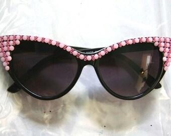 Pinky Cat Eye Sparkling Black Sunglasses Accessory by Cutie Dynamite Sunnies Cute Kawaii Lolita Retro