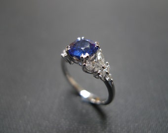 Marquise Diamonds Wedding Ring with Blue Sapphire in 14K White Gold, Cushion Cut Blue Sapphire, Diamond Band, Diamond Engagement Ring, Gems