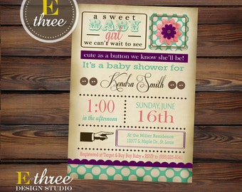 Cute As A Button Baby Shower Invitation - Shabby Chic Girl's Shower Invitations - Vintage