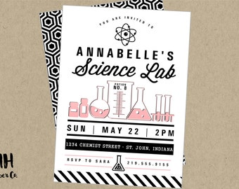 Science Party Printable Invitation- modern black white pink chemistry experiements lab beaker flask test tubes girl smart nerd