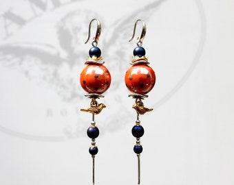 dots birds earrings bright earrings long chain earrings porcelain ceramics earrings cozy earrings naughty earrings casual earrings