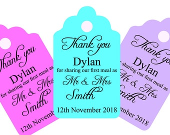 """Personalised """"Thank you for sharing our first meal"""" wedding tags with guests name and your details, any colour wording can be changed."""