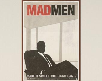 Mad Men; TV Show Inspired Large Poster, Don Draper, Mad Men Poster, Printable Poster, Minimalist Poster, Digital Download