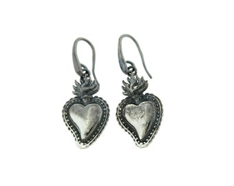 Earrings Sacred Heart burnished 925 sterling silver hypoallergenic, closing Pompeian, 2,5cmx1,5cm size weight 4,2grammi