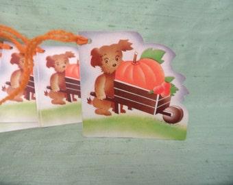 8 bridge tallies  Dog Pumpkin Halloween  / vintage with yarn / bridge tally