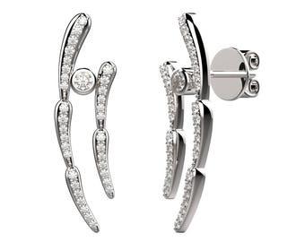 Antennas bezel earrings - silver