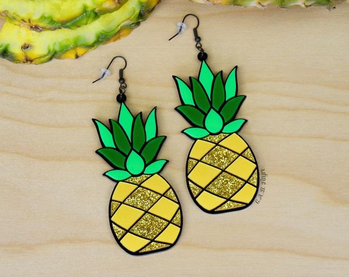 "Featured listing image: Golden Pineapple Earrings / Large 3"" / Laser Cut Acrylic Pineapple Earrings (C.A.B. Fayre Original Design)"