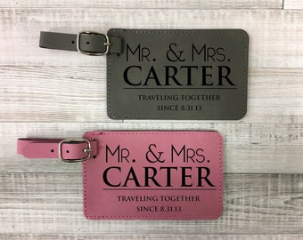 Mr and Mrs, Set Of 2 Luggage Tags, Personalized Luggage Tags, Gift For Couples, Bridal Shower Gift, Bride And Groom Gift, Honeymoon Gift