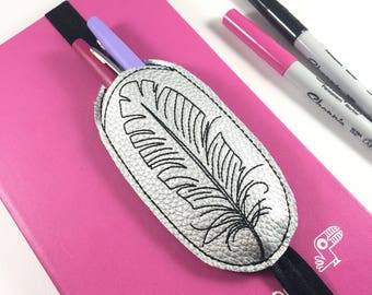 Pen Holder planner band -Feather - planner bullet journal accessories -best gifts for her