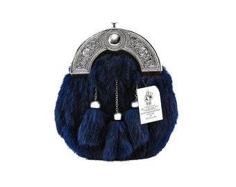 Blue Rabbit Fur Sporran