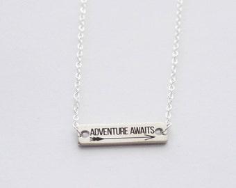 Adventure Necklace, Silver Bar Necklace, Adventure Awaits Necklace, Wander Necklace, Arrow Necklace, Grad Necklace, Layering Bar Necklace