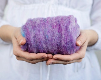 Needle Felting Wool Batting 1 oz. Periwinkle, a light lavender purple - Harrisville Fleece