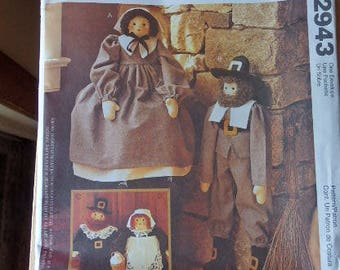 McCall's Crafts Sewing Pattern Pilgrims #2943 Uncut Sewing Craft Pattern Thanksgiving Sewing Pattern