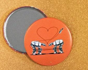 3.5 Inch Giant AT-AT Love Mirror - Orange, Star Wars Mirror, Star Wars Gift, Star Wars Party, Pocket Mirror, Compact Mirror, Hand Mirror