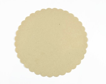 KRAFT PAPER DOILIES (Set of 20) - Kraft Paper Doily / Doilies With Fluted Edge (16cm/6.3 Inches Diameter)