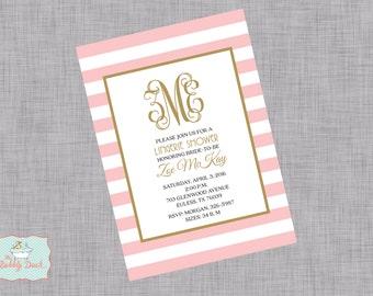 Striped Monogram Lingerie Invitation