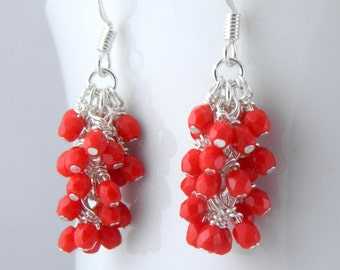 Red Cluster Earrings with Surgical Steel or Sterling Ear Wires, Valentine's Day