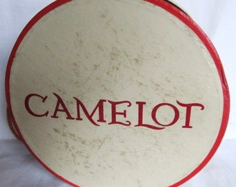 Vintage 1940's 50's Camelot Red And White Hat Box