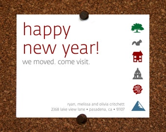 We Moved Cards. California. Pasadena. Los Angeles. Happy Holidays We Moved Come Visit Postcard. Custom. Personalized (Set of 10)