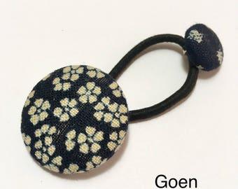 Hand made vintage cotton kimono covered button Ponytail holder(cherry blossom)