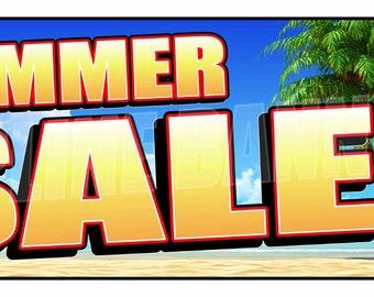 Summer Sale Banner Sign Seasonal Discounts Advertising 14oz Vinyl -- MULTIPLE SIZES