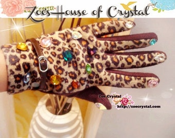 WINTER Sales- Leopard Print  Wool GLOVES with Colorful Crystals