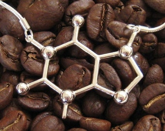 caffeine molecule necklace in solid sterling silver