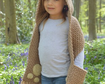 CROCHET PATTERN- The Bramble Bear Hooded Scarf (Toddler, Child, Teen, Adult sizes) -crochet hood pattern crochet scarf -Instant PDF Download