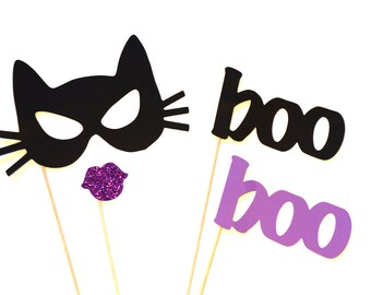 Halloween Photo Booth Props - 4 piece set - GLITTER Photobooth Props - Cat Woman