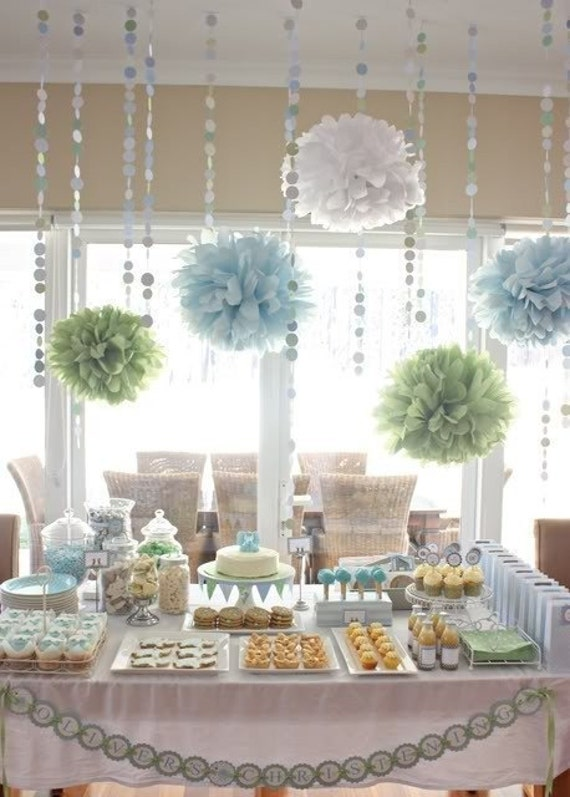 Bridal Shower Decorations tissue paper poms and garland