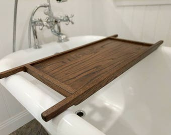 Oak Bath Tray, Wood Spa Caddy for books and tablets and candles