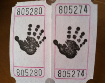 Baby Handprint Right Hand Vintage Style Hand Stamped Carnival Tickets