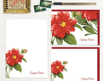 complete personalized stationery set - RED DAHLIA FLOWER - custom note cards - notepad - stationary - botanical - floral