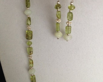 Peridot and peace jade necklace and matching earrings set