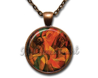 Wearable Art Picasso Three Women Glass Dome Pendant or with Chain Link Necklace  AN148